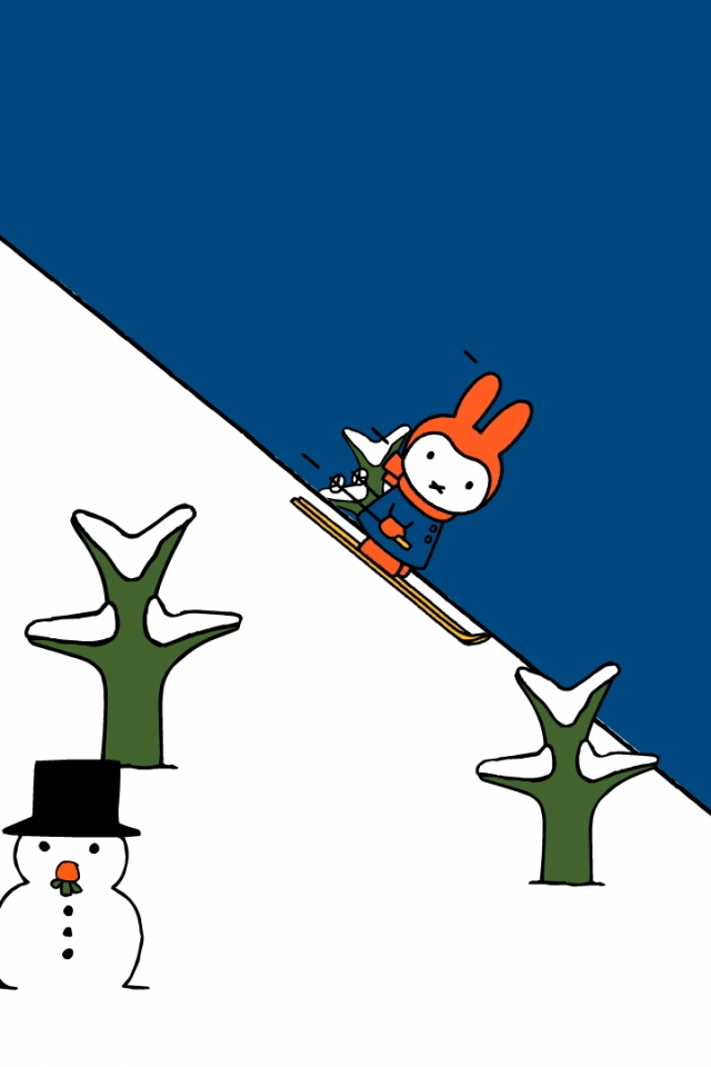 スキーをするミッフィー